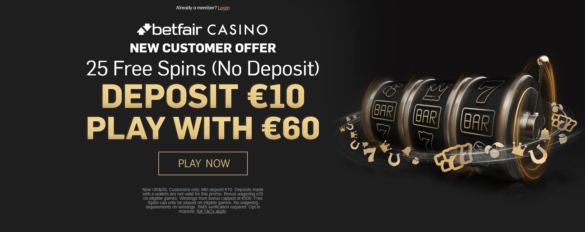 betfair free 10 casino